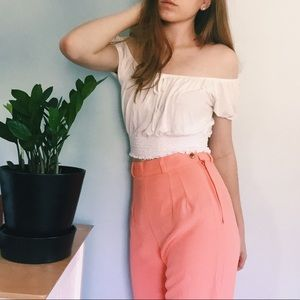 Vintage French Salmon Cropped Trousers